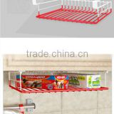 Kitchen hardware accessories sliding plastic coating wire hanging basket for cabinet storage