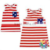 New Fashion 4th Of July Baby Girls American Flag T Shirt Sleeveless Tank Tops With Pocket On Front Pictures Of Girl Cotton Tops