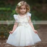 White Flower Girls Dresses For Wedding Gowns Cap Sleeve Lace Girl Birthday Party Dress Tulle Pageant Dress