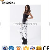 Slim New Arrival Fashion Women Cross Black Leggings MILK Printed Leggings Fitness Best Quality