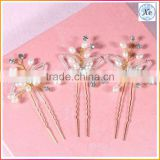 Wholesale Fashion Gold Butterfly Pearl Crystal Hair Clip Comb Jewelry