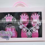 Onbest baby crown kids gift set birthday party accessories princess tiaras +shoes+necklace