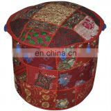 Indian Traditional Home Decorative Ottoman Handmade and Patchwork Foot Stool Floor Cushion