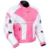 Pink and White Ladies Cordura Jacket/ Ladies Motorbike Cordura Jacket/Women Biker Jacket
