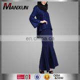 New Fashion Design Muslim Women Clothing Baju Kebaya Modern Baju Kurung Navy Blue Malaysia Style Wholesale Clothing