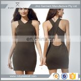 OEM ladies trendy short bandage bodycon dress with solid simple basic design cheap online shop China Alibaba 2016