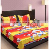 Yellow & red cartoon double bedsheet with 2 pillow covers