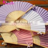 Handmade Elegant Folding Silk Hand Fan with Rhineston Ribbon Bow Decoration Wedding Favors Gifts