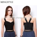 women deep V front bandage top wholesale lady sexy top wear custom bandage top