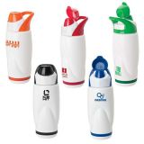 Pure white color muscle shape plastic LDPE  water bottle with handle lid