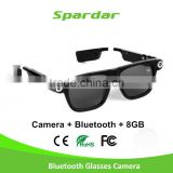 Camera Sunglasses 720P Wearable Bluetooth Heaset Wireless Hidden Camera Glasses for Outdoor/Travelling