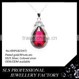 Wholesale white gold wedding necklace pendant 925 silver jewelry high quality pendant and red stones/beads for friend's gift