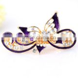 Painted lacquer decoration elegant rhinestone butterfly hair clip hair spring clip,hair clips