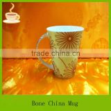 promotion ceramic mug with sunflower decal, beautiful cheap mug fror promotion