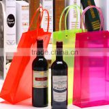 Fashion design and Hot selling PVC Plastic with side gusset and square bottom portable red wine cooler bag factory supply