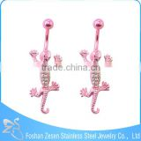 China manufacturer pink female navel white rhinestone lizard piercing body jewelry