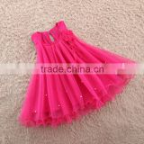 hot pink baby girl frock beaded ruflle kids dresses pure colour children long gown autumn                                                                                                         Supplier's Choice