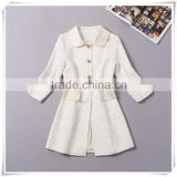 2014 Newest european designer runway vintage slim 3/4 sleeve turn-down collar lace coat for girls hot selling V19012