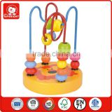 12 months kids ASTM new hot toys orange base lion design small wooden surround colourful beads roller coaster