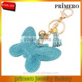 Fashion Jewelry Cute Animal Key Chain Rhinestone Inlaid Leather Butterfly Key rings