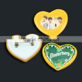 Newest design blank plastic pin badges Hot sale custom Heart shaped pin badges
