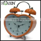 metal bell quartz analog heart shape tabletop alarm clock for kid