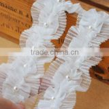 Handmade Pearl Chiffon Tulle Lace Trimming For Wedding,Lovely lace trimming for kids dress