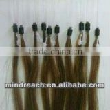 "Wholesale 20""natural brown silk straight Mongolian virgin loop hair extension for hair salon, accept paypal escrow"