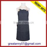 Yiwu Factory long plain black canvas apron wholesale women aprons