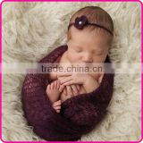 newborn photo props crochet mohair wrap with knitted headband Image