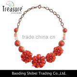 fashion jewelry wholesale red resin flower chain choker necklace jewelry 2016