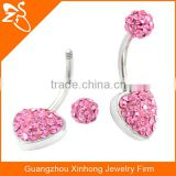 316L Surgical Steel 14 Gauge Belly Button Navel Ring Crystal Belly Bars