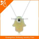 925 silver special irregular shaped with eye opal pendant jewelry necklace