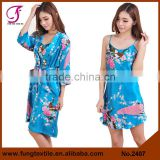 2407 Long Design Women Peacock Sets Silk Nightwear for Women                                                                         Quality Choice