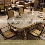 JT71-02 Dining Table-JL&C Luxury Home Furniture Stainless Steel Base Marble Top