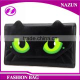 hot sale new trend fancy cat face green eyes shape designer cartoon lady beautiful wallets with magnet snap closure