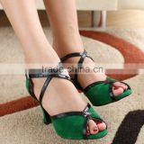 New Hot women pumps Green Plush Velvet Latin dance shoes Peep Toe Suede Ballroom dancing shoes Salsa Tango shoes