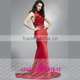 HT55 New Arrival Sexy Sleeveless Beaded Bust Red Long Prom Dresses High Neck See Through Mermaid Floor Length Vestido De Gala