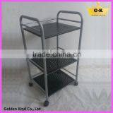 Home furniture indoor&outdoor used 3 layers 4 wheels metal iron tube kitchen trolley cart
