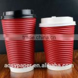 Custom disposable logo print colorful Christmas coffee ripple wall paper cups for coffee/tea/milk