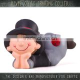 Ceramic new year chimneyman lying home and garden decoration
