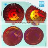 red round customized label 3d holographic display