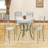 round wood chrome dining table with 4 chairs metal dining set