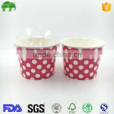 8oz 12oz 125ml 140ml Custom Printed Disposable Yogurt ice cream paper cup paper bowl with lid and plastic ice cream spoon