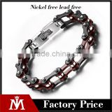316 L stainless steel red black color motorcycle chain bracelet