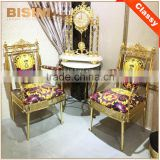 French Louis XV Luxury 18/24K Gold Plated Brass Armchair/ Gilt Royal Throne Armchair For Living Room