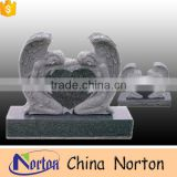High quality hand-carved gray granite double angel sculpture headstone NTGT-071L