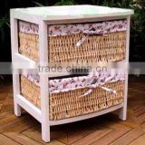 tong wood living room display Shoe Cabinet With wicker Drawer