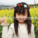 New premium fairy tale princess wore polyester hair band felt hair girl baby headband with rose flowers encircled twig wholesale