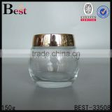 special products cosmetic cream big 150ml glass jar clear bulb shaped glass jar with shiny gold lid